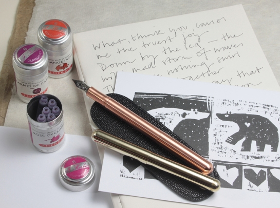 Brass & Copper Kaweco Liliput fountain pens with leather pouch. J.Herbin cartridge tins (in 20 colours) & a William Brown 'Getting to know you' card.